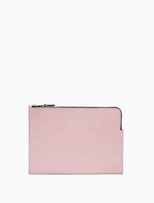 CALVIN KLEIN LOGO EMBOSSED MEDIUM POUCH