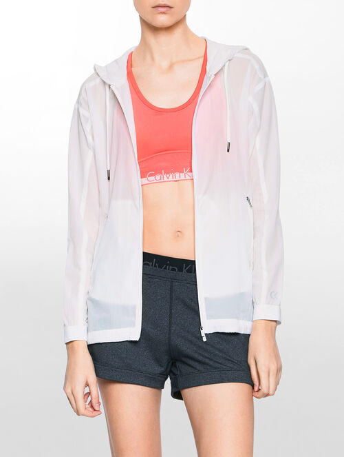 CALVIN KLEIN HIGH-LOW HEM WIND JACKET WITH HOOD