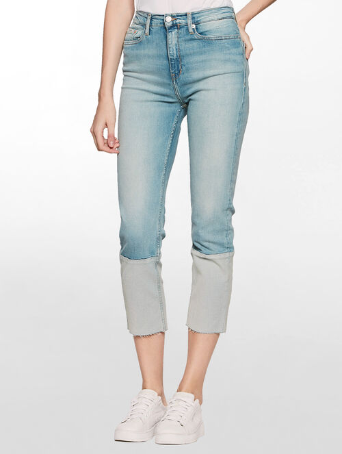 CALVIN KLEIN 90S LIGHT HIGH RISE STRAIGHT ANKLE CUFF JEANS