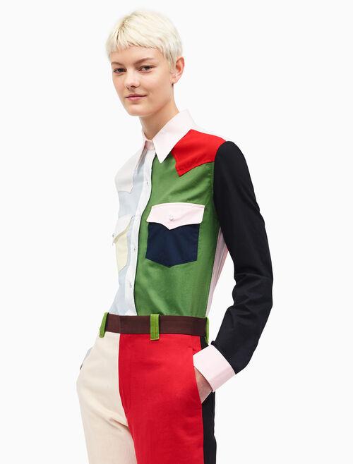 CALVIN KLEIN colorblock ウエスタンシャツ