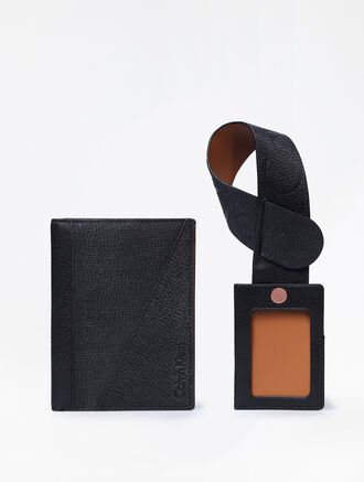 CALVIN KLEIN MIXED TEXTURE GIFT SET (PASSPORT HOLDER + LUGGAGE TAG)