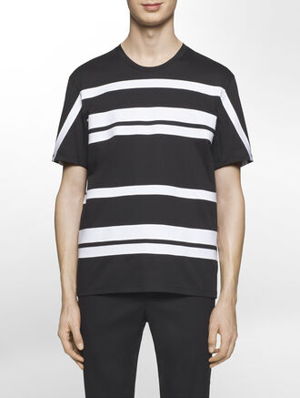 CALVIN KLEIN CERAMIC INTERLOCK SHORT SLEEVES STRIPE TOP( D-EASY FIT )