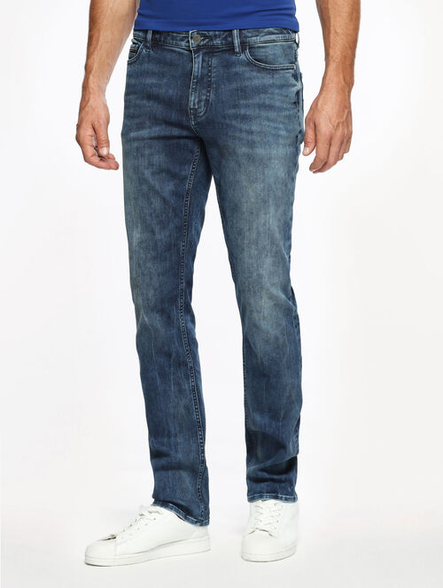 CALVIN KLEIN ELASTIC MID-A WASH SLIM STRAIGHT FIT JEANS
