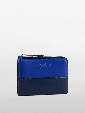 CALVIN KLEIN MENS CLASSIC TWO TONE L-ZIP WALLET