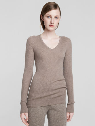 CALVIN KLEIN CASHMERE CLASSIC LONG SLEEVE V NECK TEE