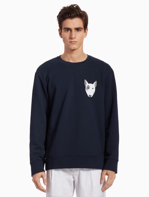 CALVIN KLEIN KNIT PULLOVER SWEATSHIRT WITH APPLIQUE