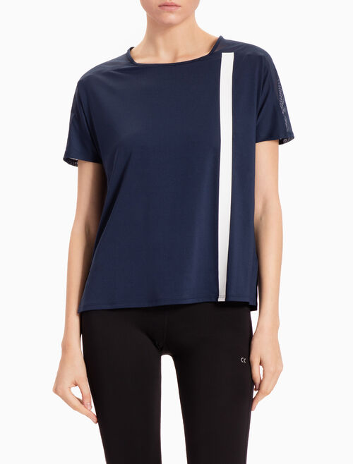 CALVIN KLEIN PREMIUM BONDED SHORT-SLEEVE TEE WITH LONG STRIPE PRINT