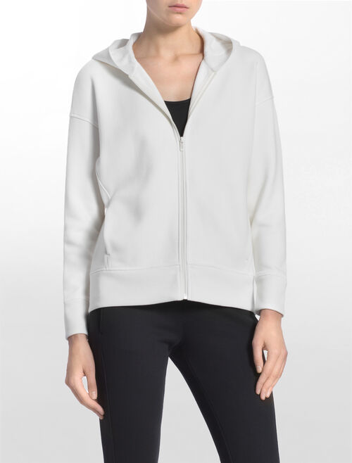 CALVIN KLEIN FUR FLEECE JACKET WITH LOGO HOOD