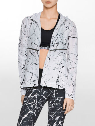 CALVIN KLEIN ALLOVER PRINT PACKABLE JACKET WITH HOODY