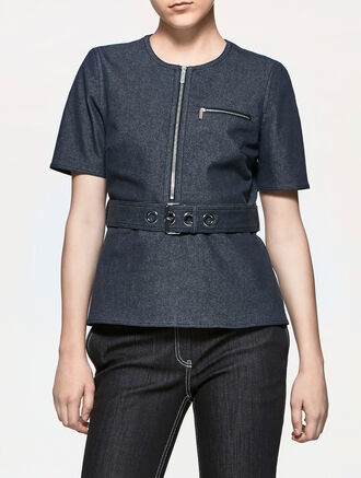 CALVIN KLEIN DENIM BELTED TOP