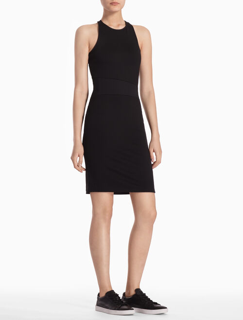 CALVIN KLEIN SLIM FIT DRESS WITH ASYMMETRIC COLOR BLOCK