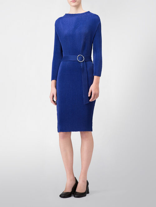 CALVIN KLEIN MATTE PLEATED 3/4 SLEEVES DRESS WITH BELT