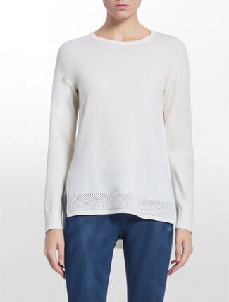 CALVIN KLEIN PERFORATE PANEL PULOVER TOP