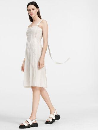 CALVIN KLEIN ORGANZA INVERTED PLEAT DRESS