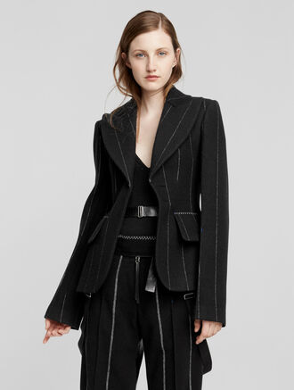 CALVIN KLEIN WOOL PINSTRIPE SINGLE BREASTED JACKET