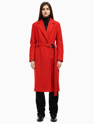 CALVIN KLEIN double face belted overcoat