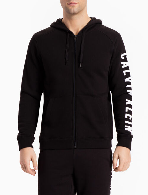 CALVIN KLEIN HOODED SWEAT JACKET WITH SLEEVE LOGO