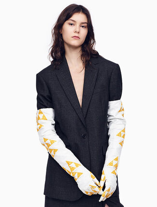 CALVIN KLEIN SINGLE-BREASTED BOXY BLAZER IN CHECK WORSTED WOOL