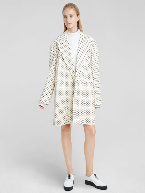 CALVIN KLEIN OVERSIZED POLKA DOT CRACKLED LEATHER COAT