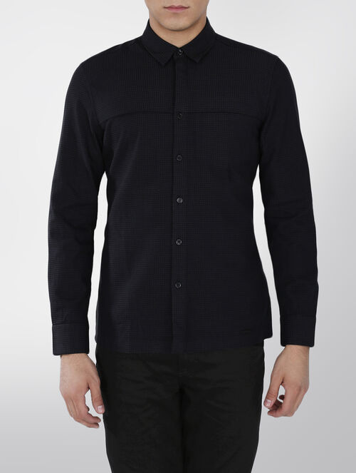 CALVIN KLEIN JACQUARD COTTON  STRETCH SHIRT