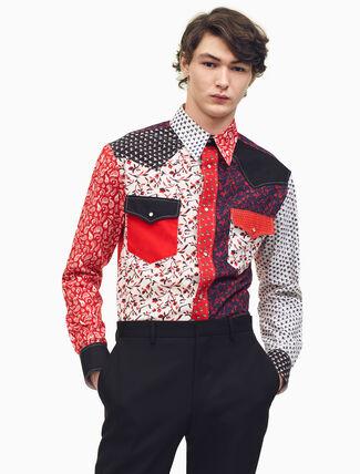 CALVIN KLEIN パッチワークキャリコシャツ