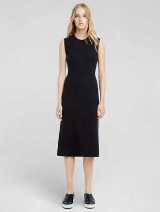 CALVIN KLEIN CASHMERE BOUCLE FLARED DRESS