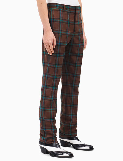 CALVIN KLEIN slim pants in tartan merino wool
