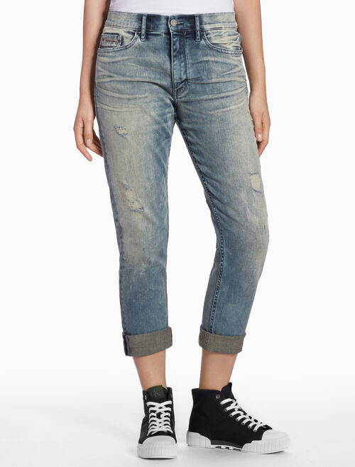 CALVIN KLEIN DISTRESSED SLIM SELVEDGE JEANS