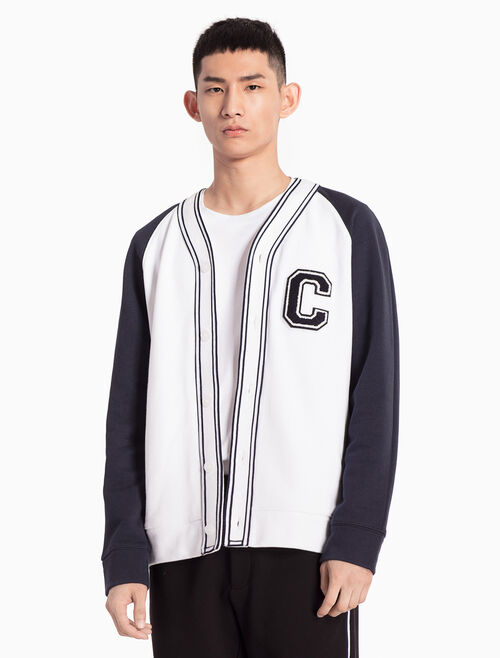 CALVIN KLEIN KNIT JACKET WITH LOGO APPLIQUE