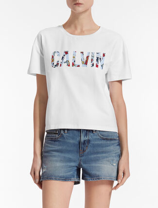CALVIN KLEIN TECARA 플로럴 로고 티셔츠