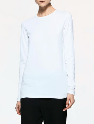 CALVIN KLEIN LIGHTWEIGHT PIMA COTTON STRETCH LONG SLEEVES BASIC TOP
