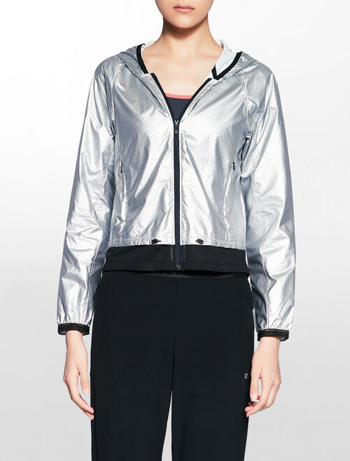 CALVIN KLEIN METALLIC HOODED WIND JACKET