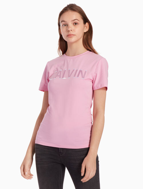 CALVIN KLEIN 새틴 로고 티셔츠