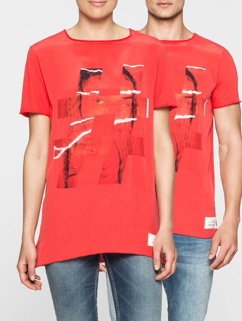 CALVIN KLEIN SILK/COTTON T-SHIRT -  #MY CALVINS TEE