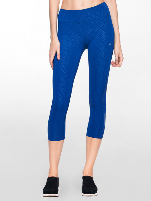 CALVIN KLEIN CROPPED MID RISE LEGGING WITH MESH AT BACK