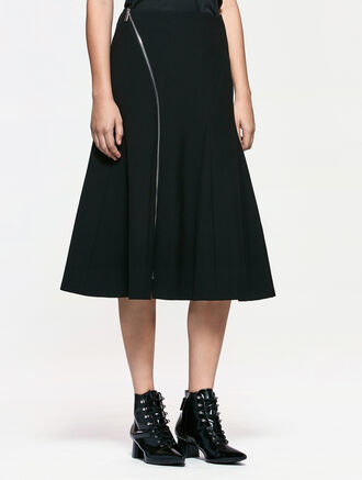 CALVIN KLEIN HIGH WAIST ZIP FLARED SKIRT