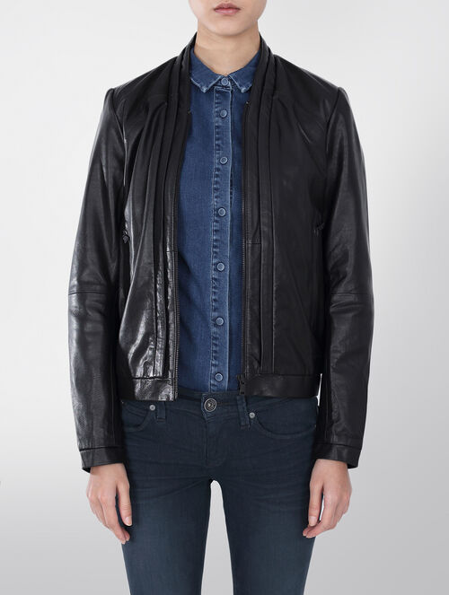 CALVIN KLEIN NANI GOAT WAXY LEATHER JACKET