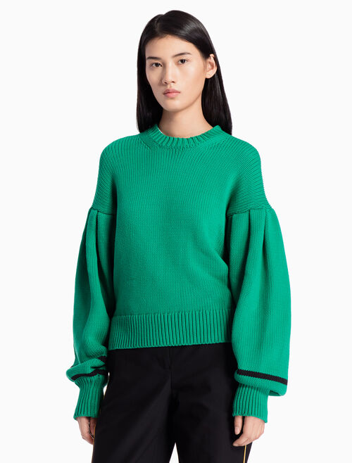 CALVIN KLEIN KNITTED PULLOVER SWEATER WITH PUFF SLEEVES