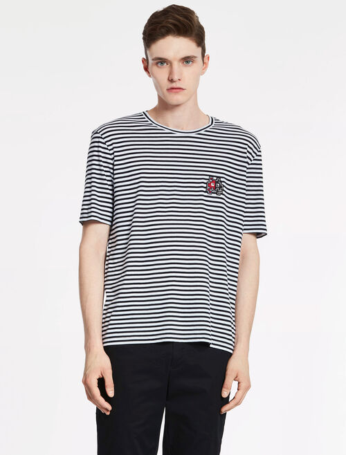 CALVIN KLEIN STRIPE JERSEY Short Sleeves TEE WITH MONSTER BADGE