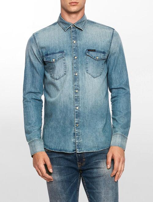CALVIN KLEIN スローブルー クラシックシャツ