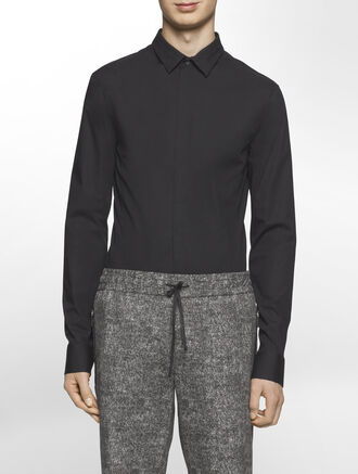 CALVIN KLEIN FINE STRETCH LONG SLEEVES SHIRT WITH MESH TAPE( SID FIT )