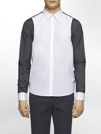 CALVIN KLEIN REFINED POPLIN LONG SLEEVES SHIRT WITH MESH COMBO( SEAN FIT )