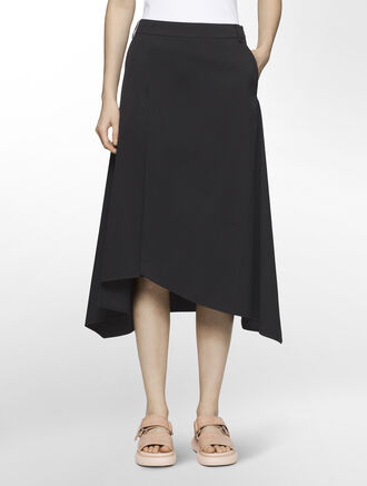 CALVIN KLEIN SOAPY TWILL FLARE SKIRT