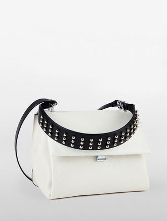 CALVIN KLEIN SLATED SATCHEL WITH STUDS