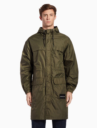 CALVIN KLEIN MID-LENGTH WOVEN HOODED COAT