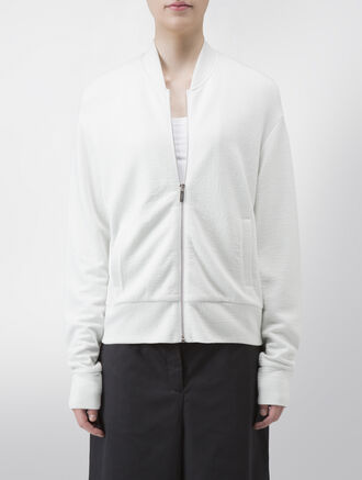 CALVIN KLEIN DOUBLE FACE CRINKLE VISCOSE LONG SLEEVES ZIP UP JACKET