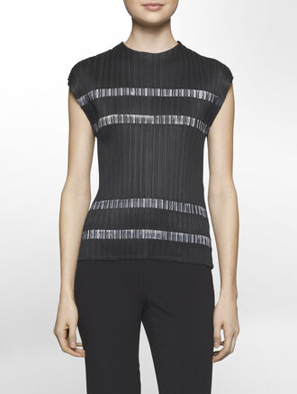 CALVIN KLEIN SHEEN PLEATED POLY TOP