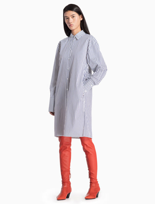 CALVIN KLEIN WOVEN STRIPE SHIRT DRESS