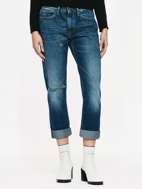 CALVIN KLEIN SCARRED BLUE WASH SLIM BOYFRIEND JEANS