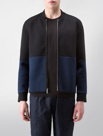CALVIN KLEIN SCULPTED DOUBLE FACE JERSEY LONG SLEEVES ZIP UP JACKET( C-SLIM FIT )